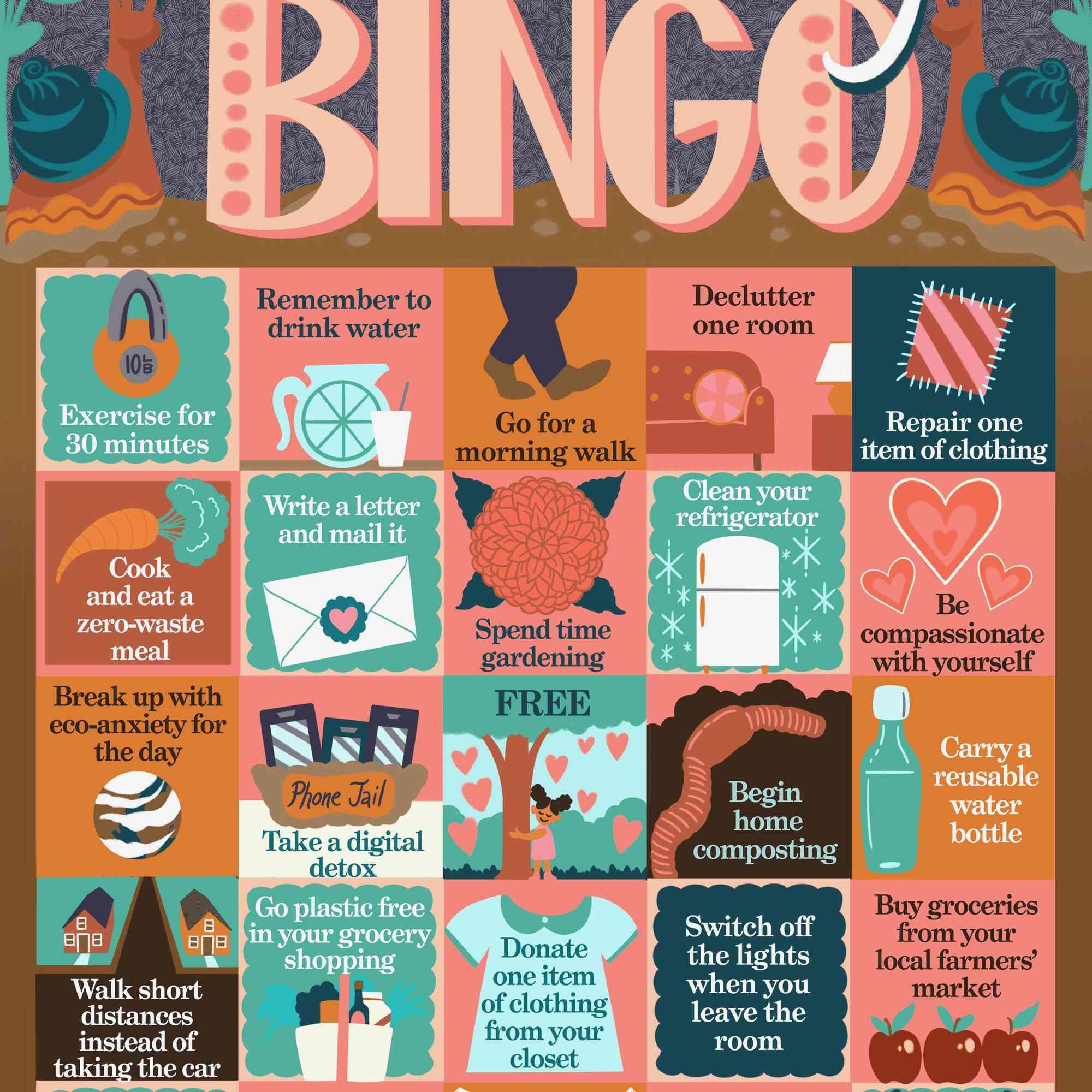 slow living bingo card
