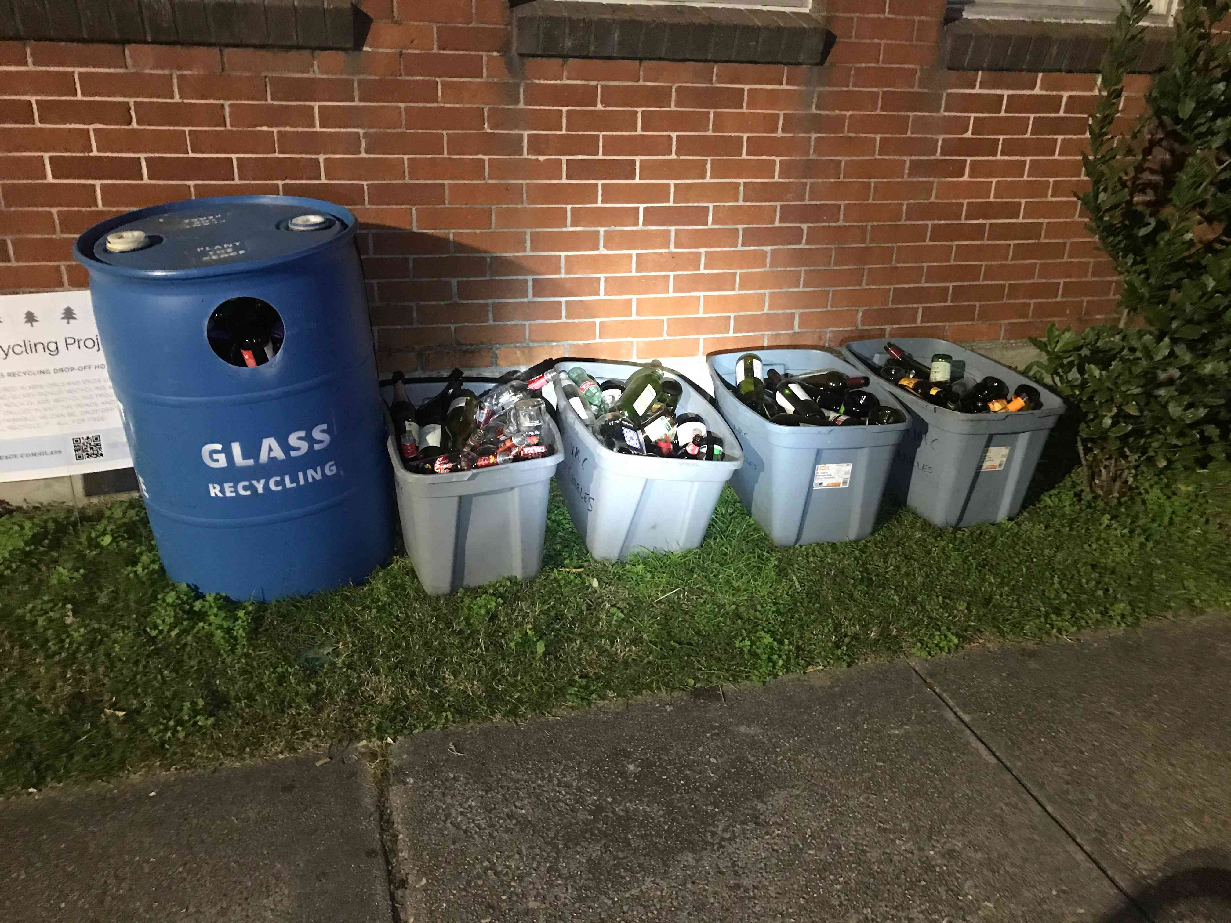 A glass recycling dropoff station in new orleans