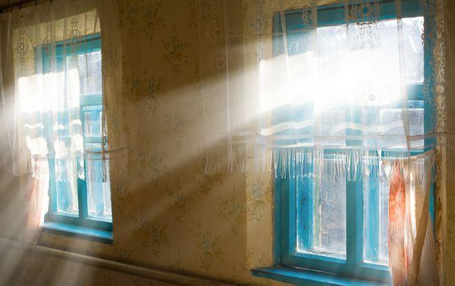 Sunlight streams through windows with blue frames and gauzy curtains