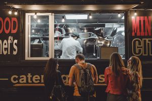 a food truck with hot dogs and burgers; virtual or ghost restaurants
