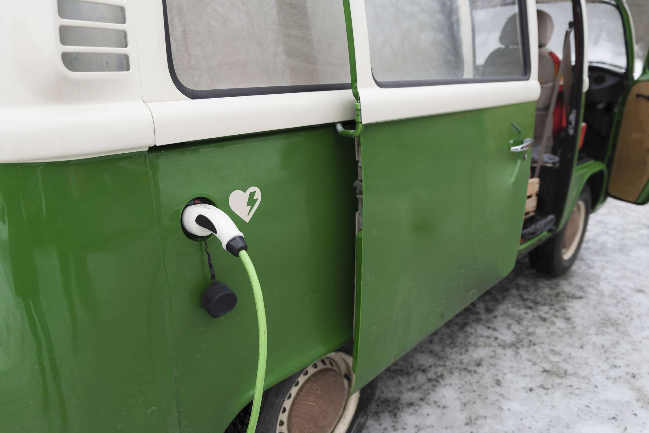 A VW camper converted to run on electricity