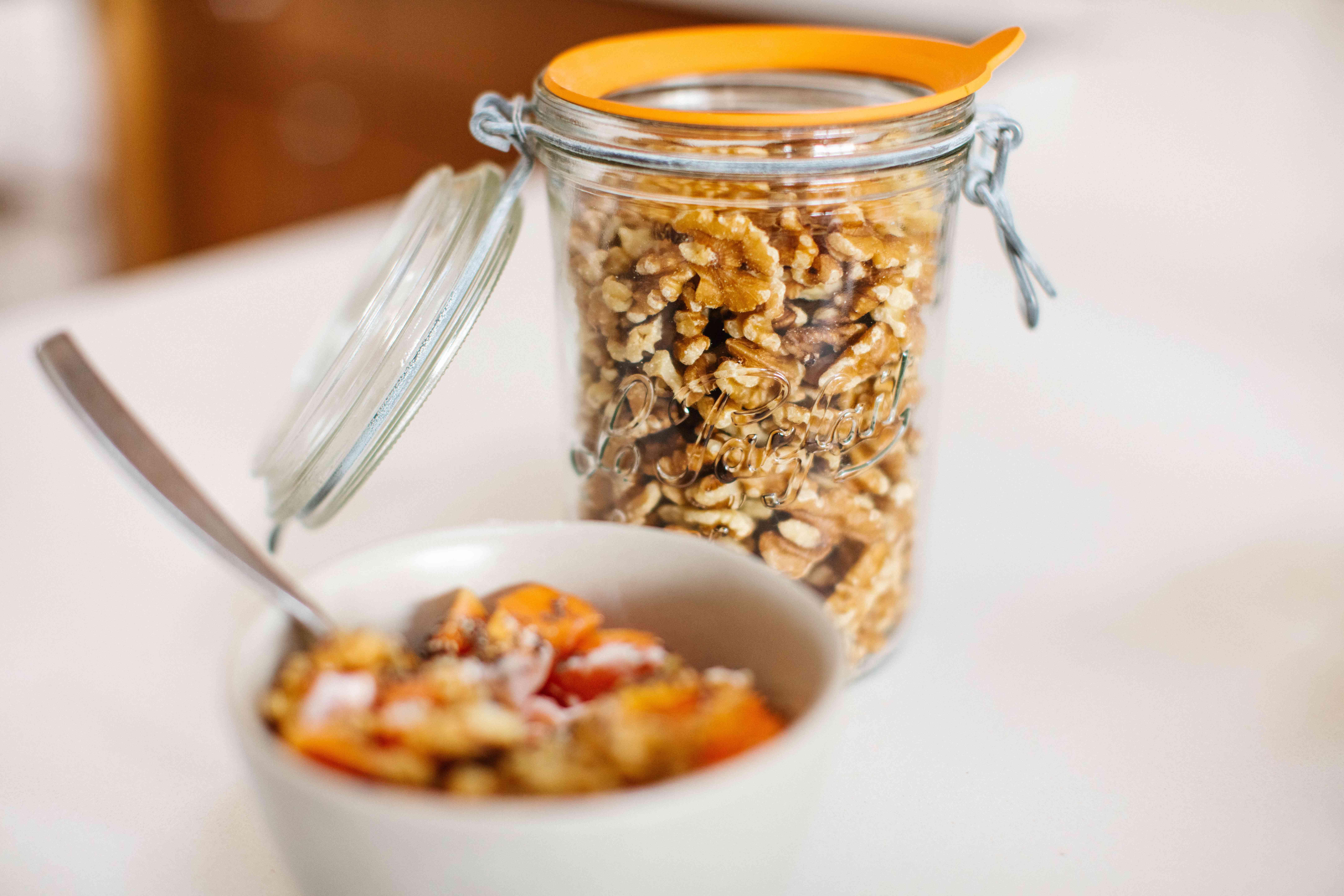Le Parfait reusable glass jar with granola