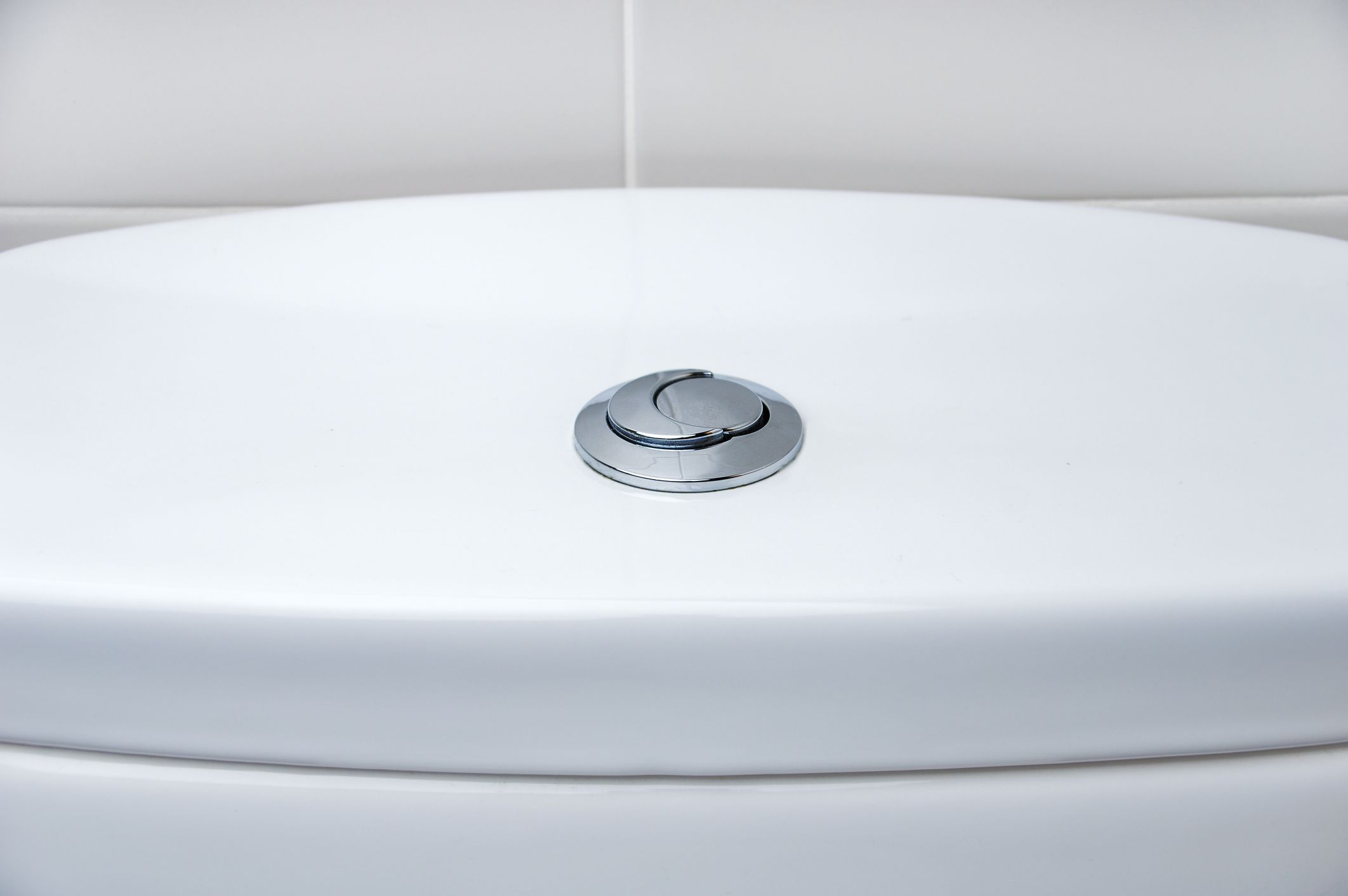 The top of a dual flush toilet.