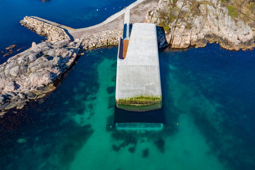 Aerial view of Under, a proposed underwater restaurant on Norway's southern coast
