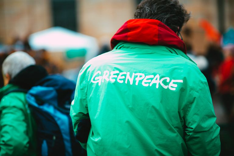 Back of man wearing a green Greenpeace jacket