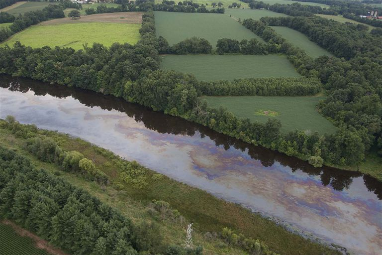 Aerial view of the Kalamazoo River oil spill