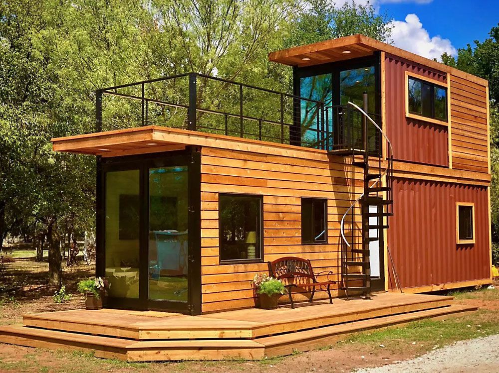 Stacked Two Story Shipping Container