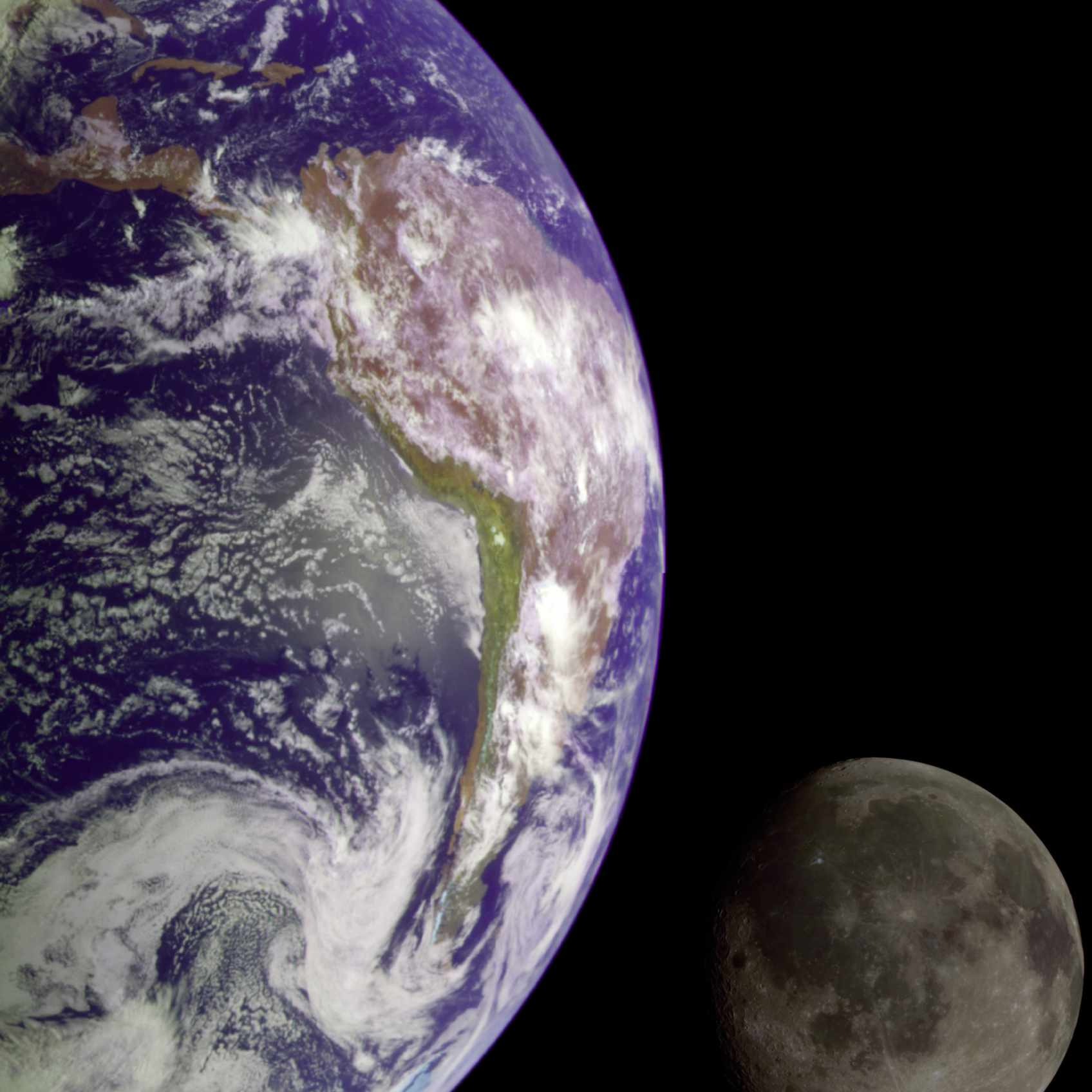 The Earth and the moon as photographed by the Galileo spacecraft in 1992