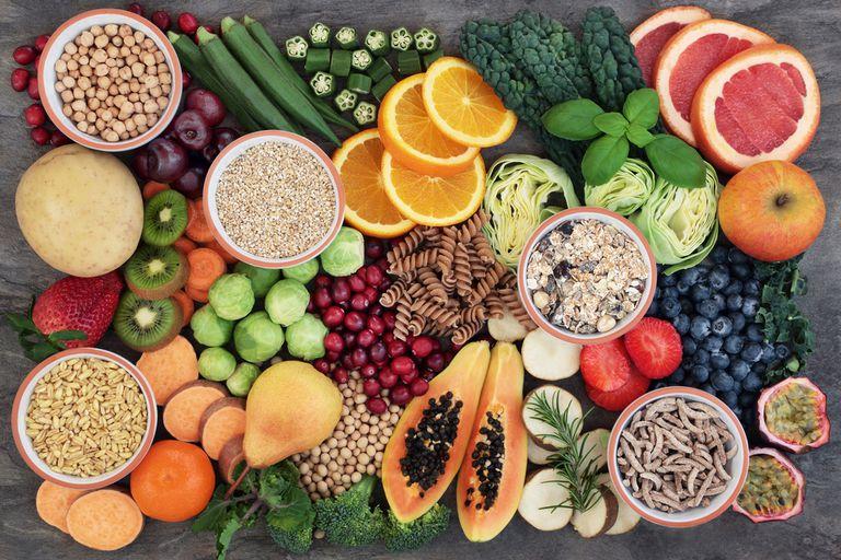 fruits, vegetables, whole grains