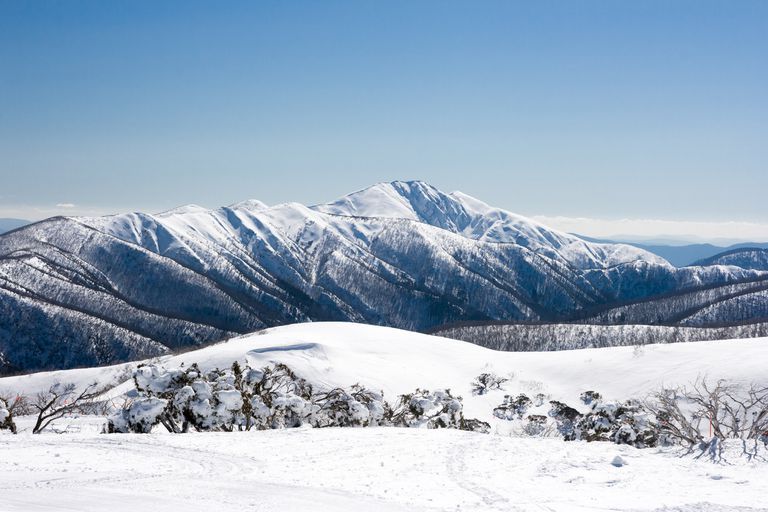 View from Mt Hotham ski resort after fresh snow looking towards Mt Feathertop, Victoria,