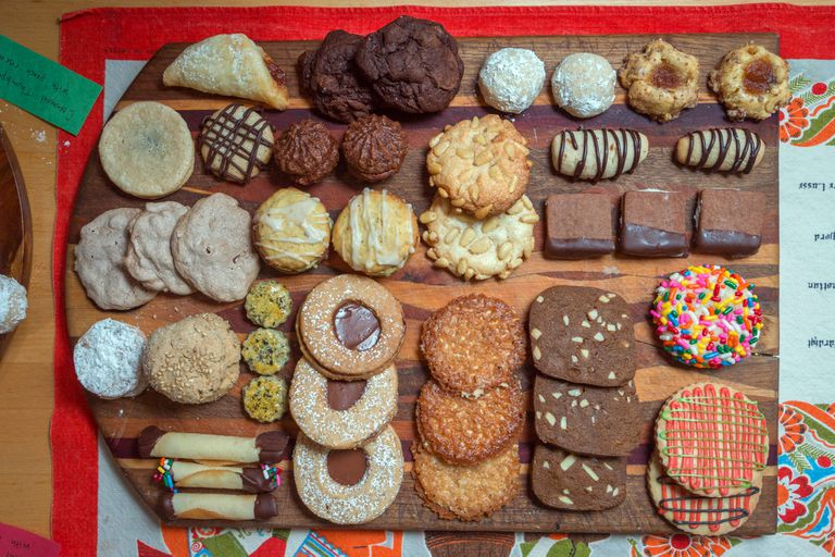 Assortment of cookies on a cutting board