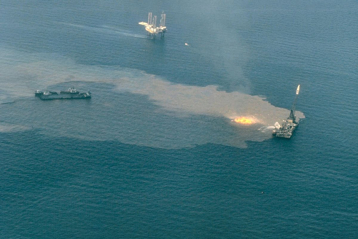 Ixtoc I oil well blowout after the platform Sedco 135 burns and sinks in the Bay of Campeche, Mexico.