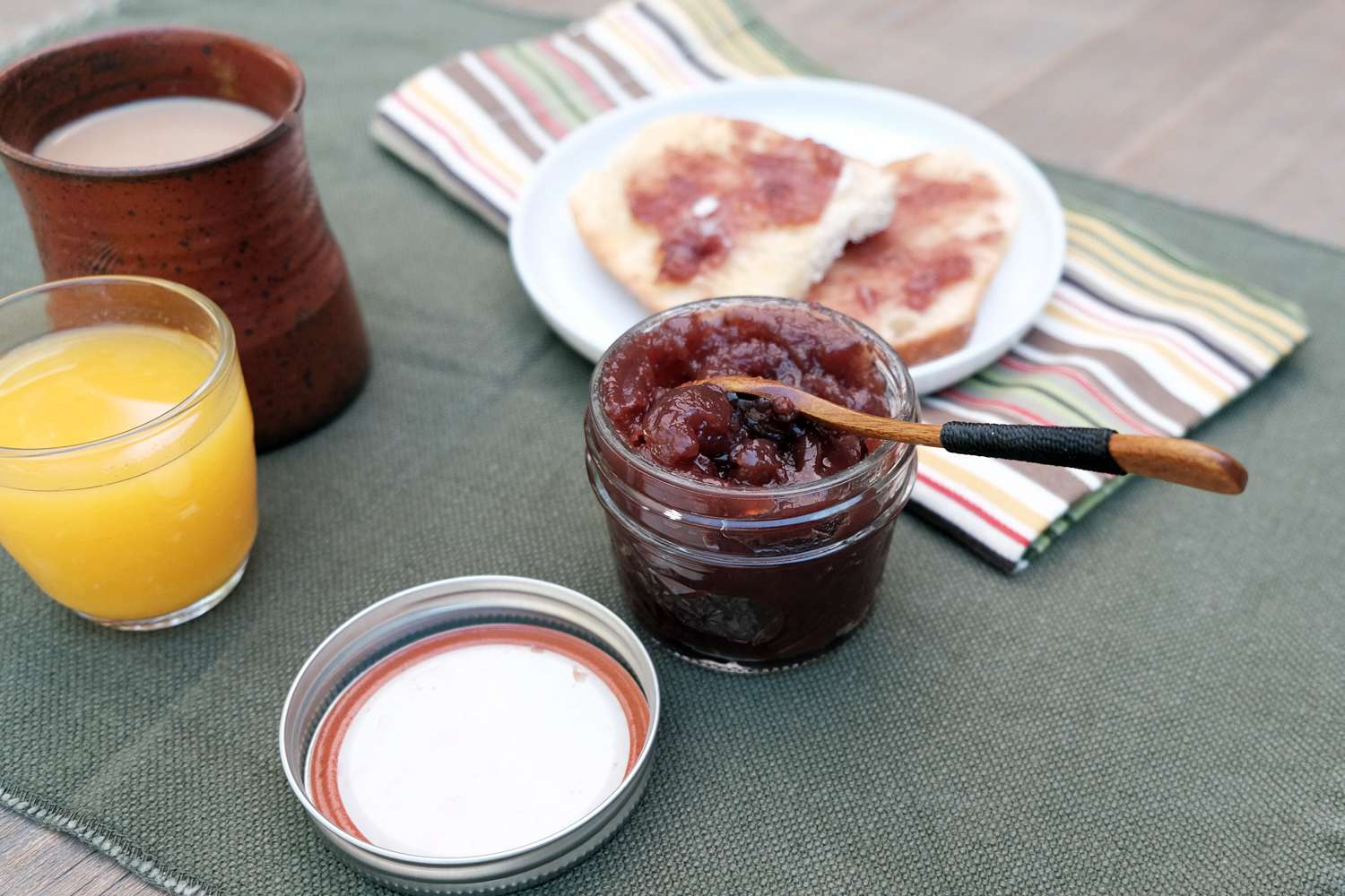breakfast set up with jelly jar showing single-use canning lid