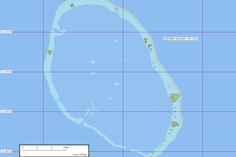 Map of Carteret Islands in the Pacific Ocean