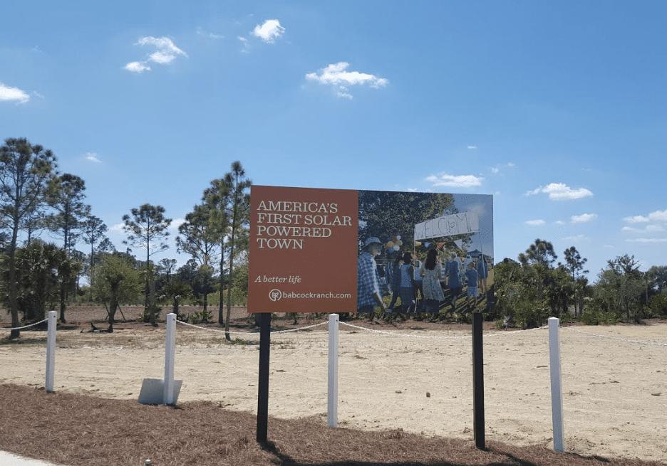 Babcock Ranch solar-powered town sign
