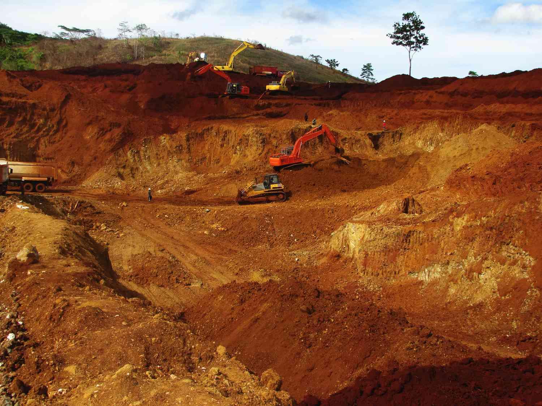 A March 2012 photo of an open cut nickel laterite mine near Kendari, Southeast Sulawesi province, Indonesia.