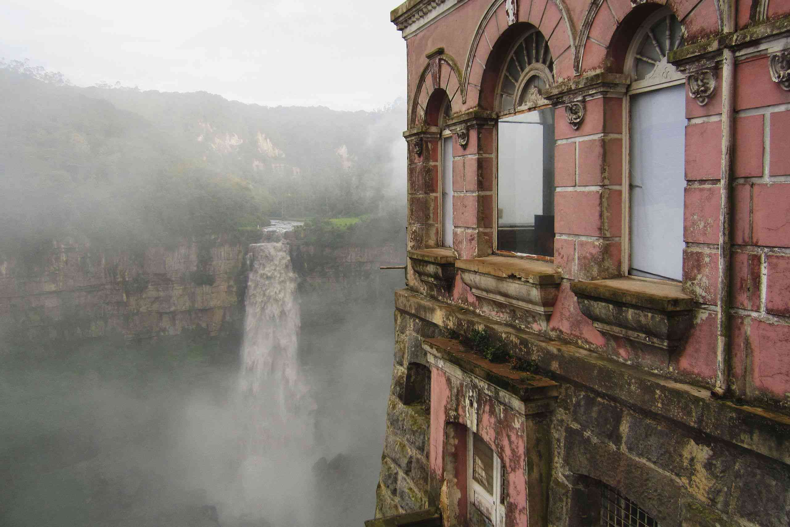 Tequendama Falls with Hotel de Salto in the foreground
