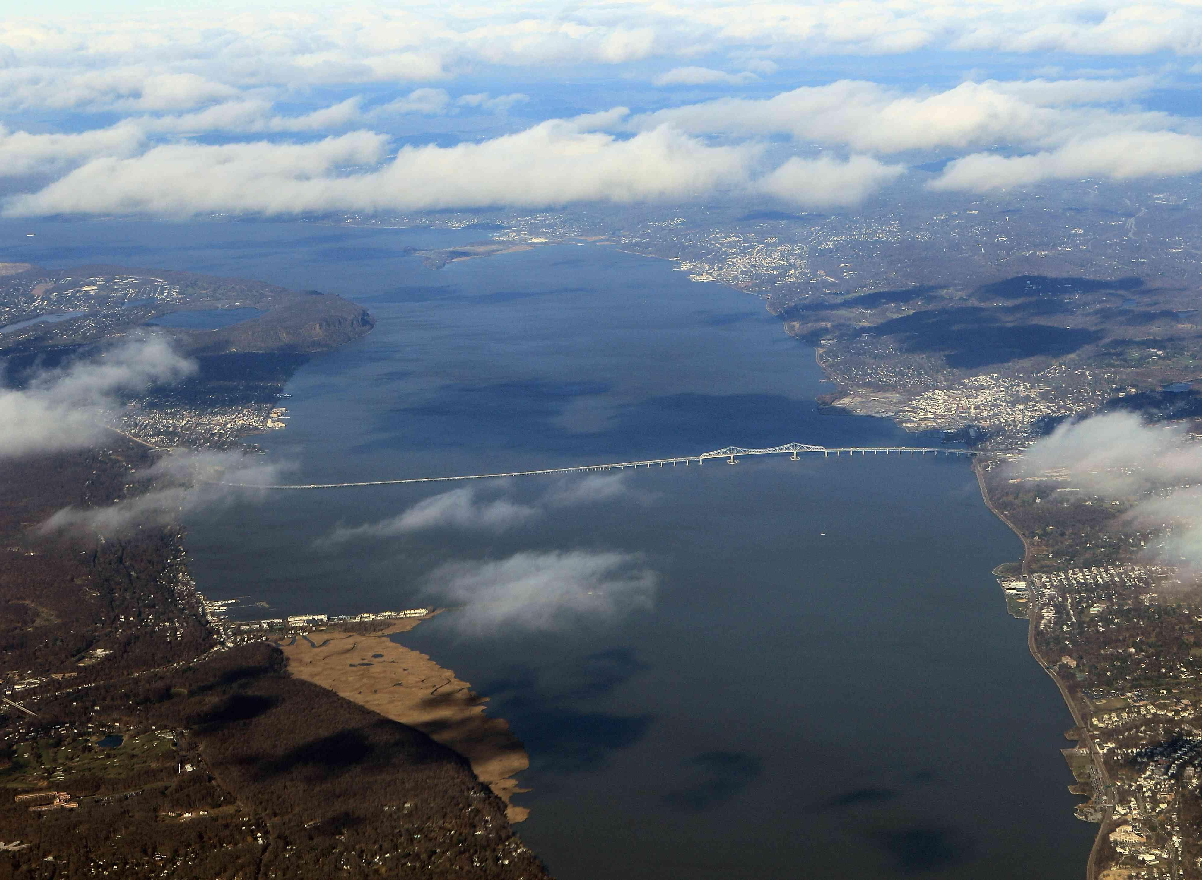 Aerial view of Tappan Zee Bridge, New York