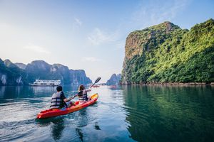 kayaking in Ha Long Bay, Vietnam