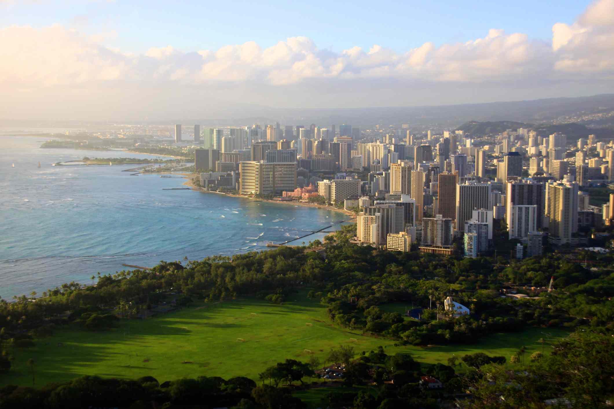 Waikiki, Honolulu skyline in Hawaii