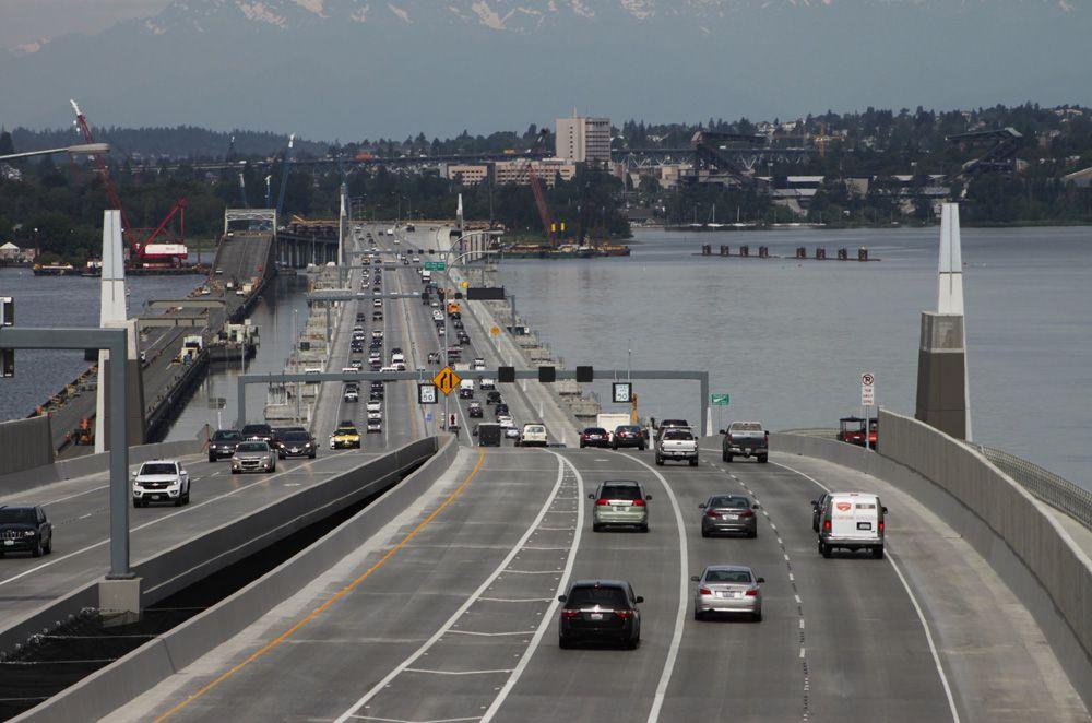 Cars travel along the Evergreen Point Floating Bridge in Washington