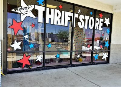 front of a thrift store