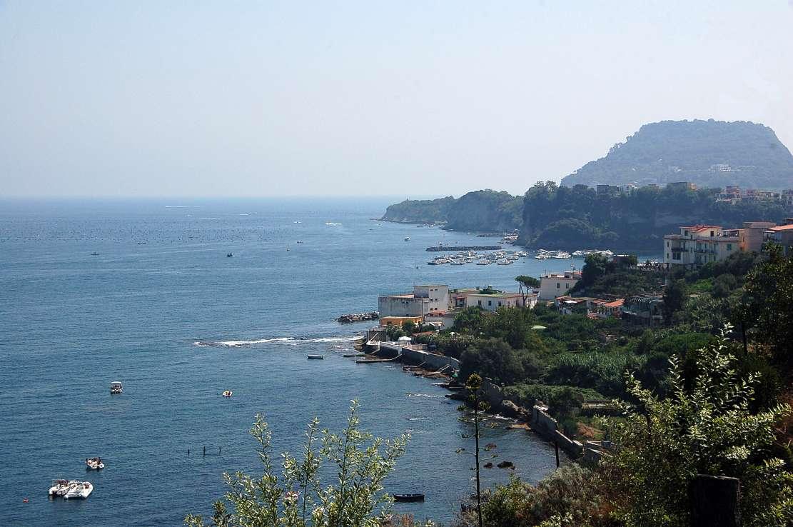 Overhead shot of Baiae and the coastline