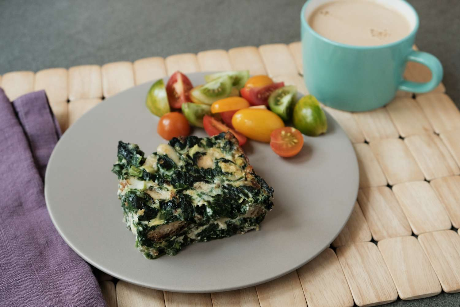spinach egg cheese bake with coffee