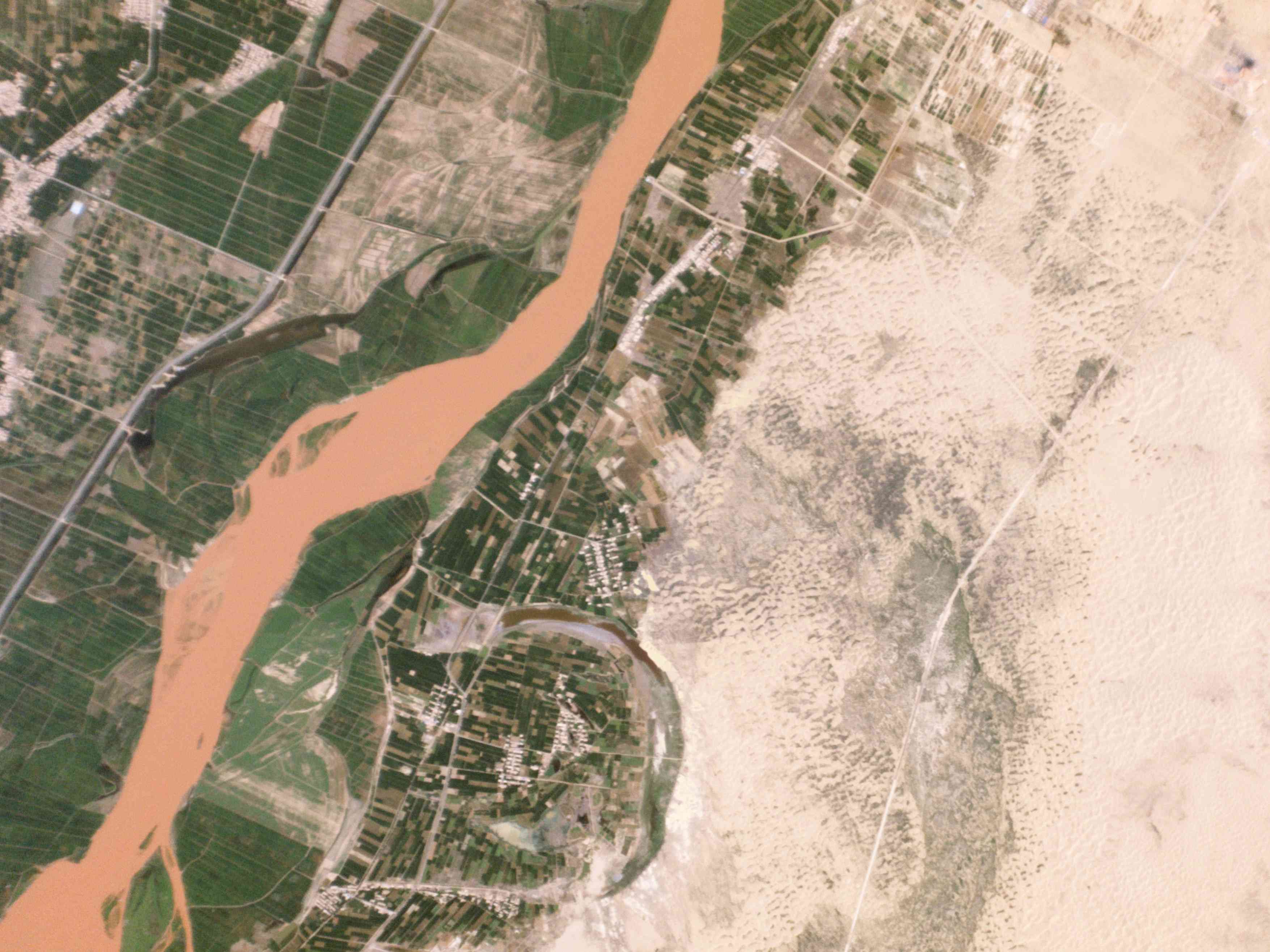Aerial satellite image of desertification in China