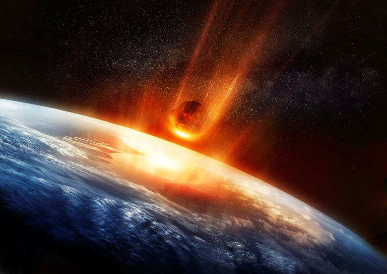 A meteor crashing into earth