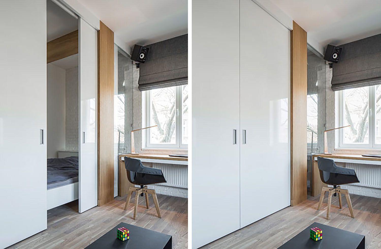 man's lair micro apartment boq architekti bedroom doors open and closed