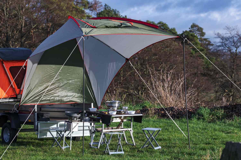 Elektro Frosch big tent over table