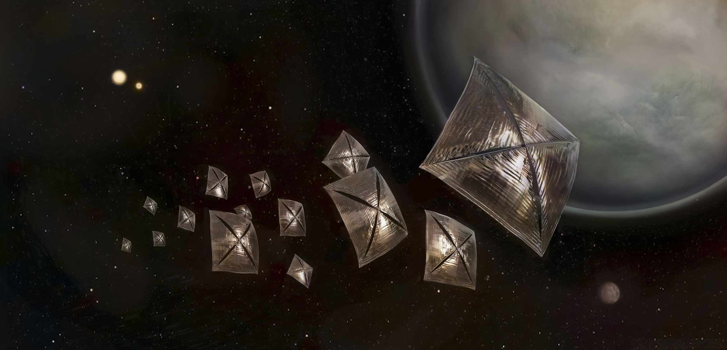 Illustration of a future solar sailing spacecraft studying the exoplanets in the Centauri system