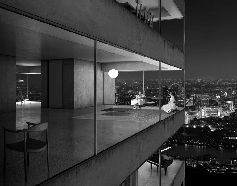 Black and white photo of a city apartment