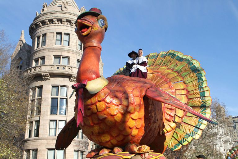 A turkey float during the Thanksgiving Day Parade