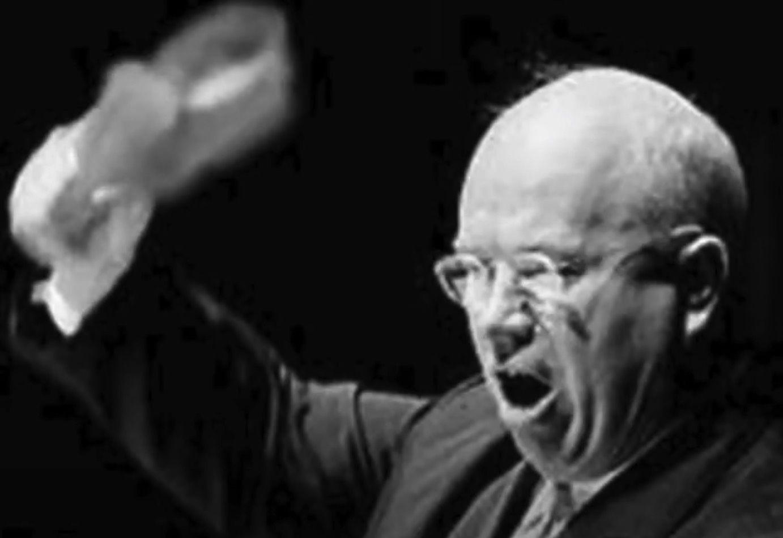 Nikita Khrushchev with shoe at UN, 1960