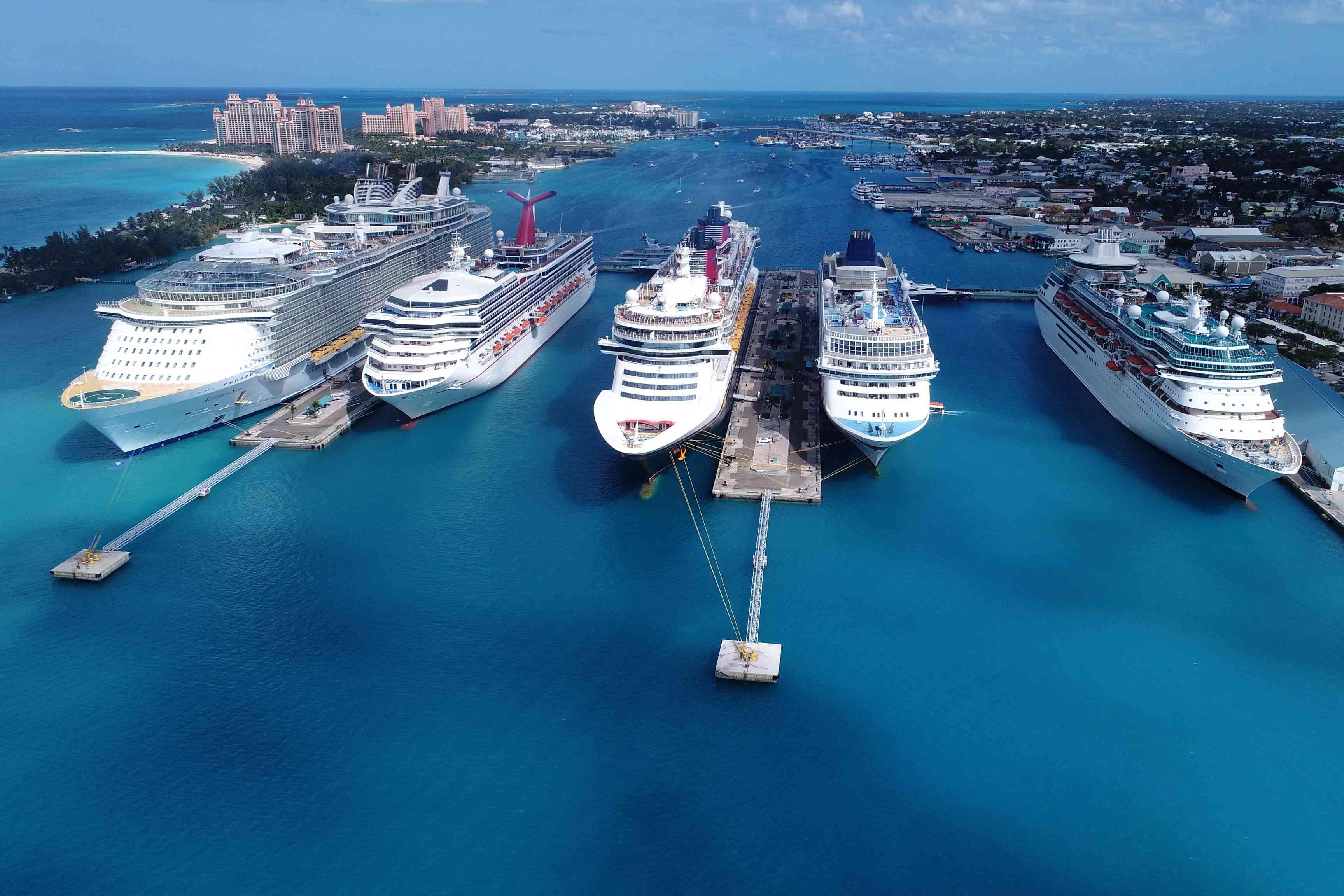 Cruise ships moored in sea in Nassau, Bahamas