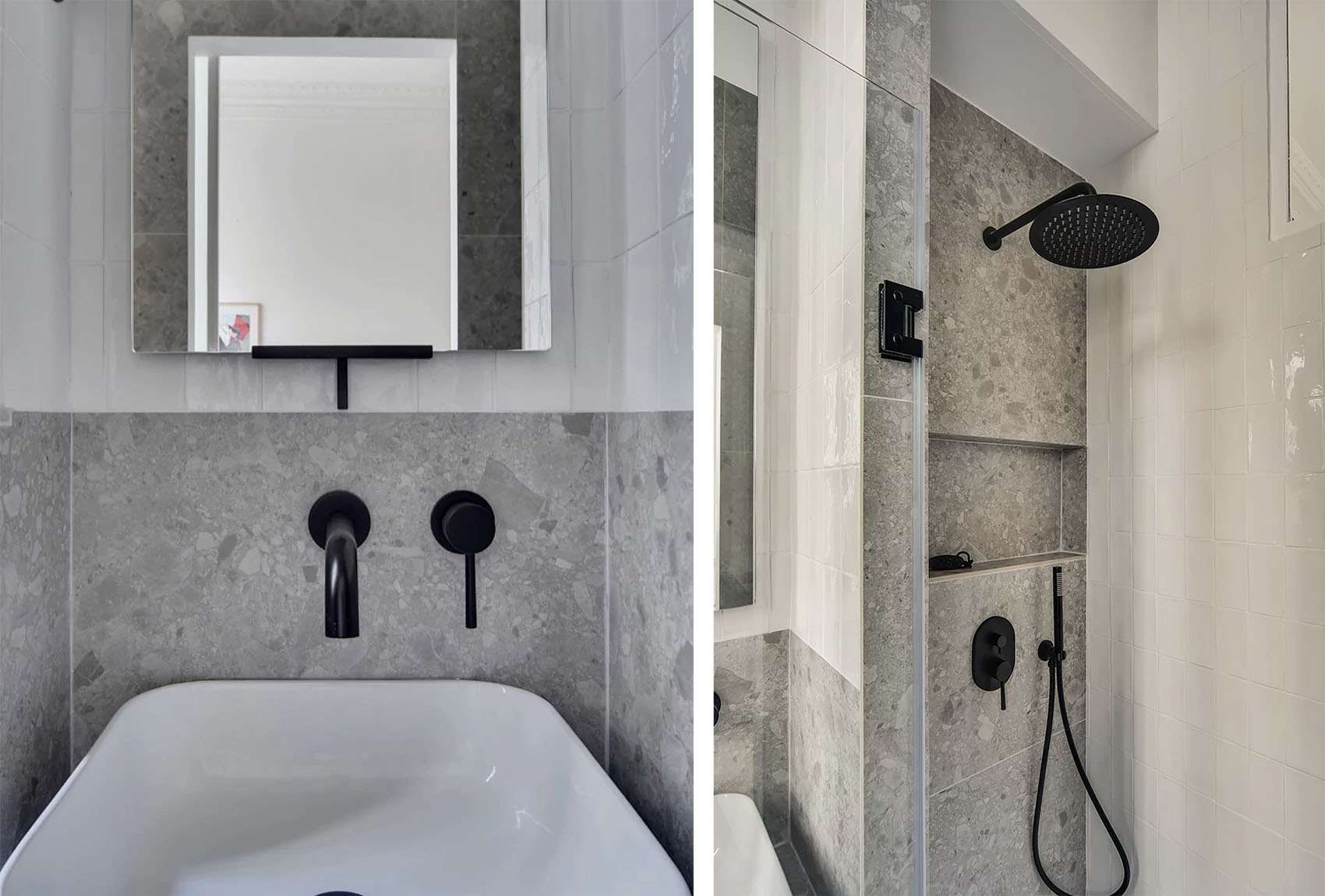 Boulevard Arago apartment renovation Studio Beau Faire bathroom