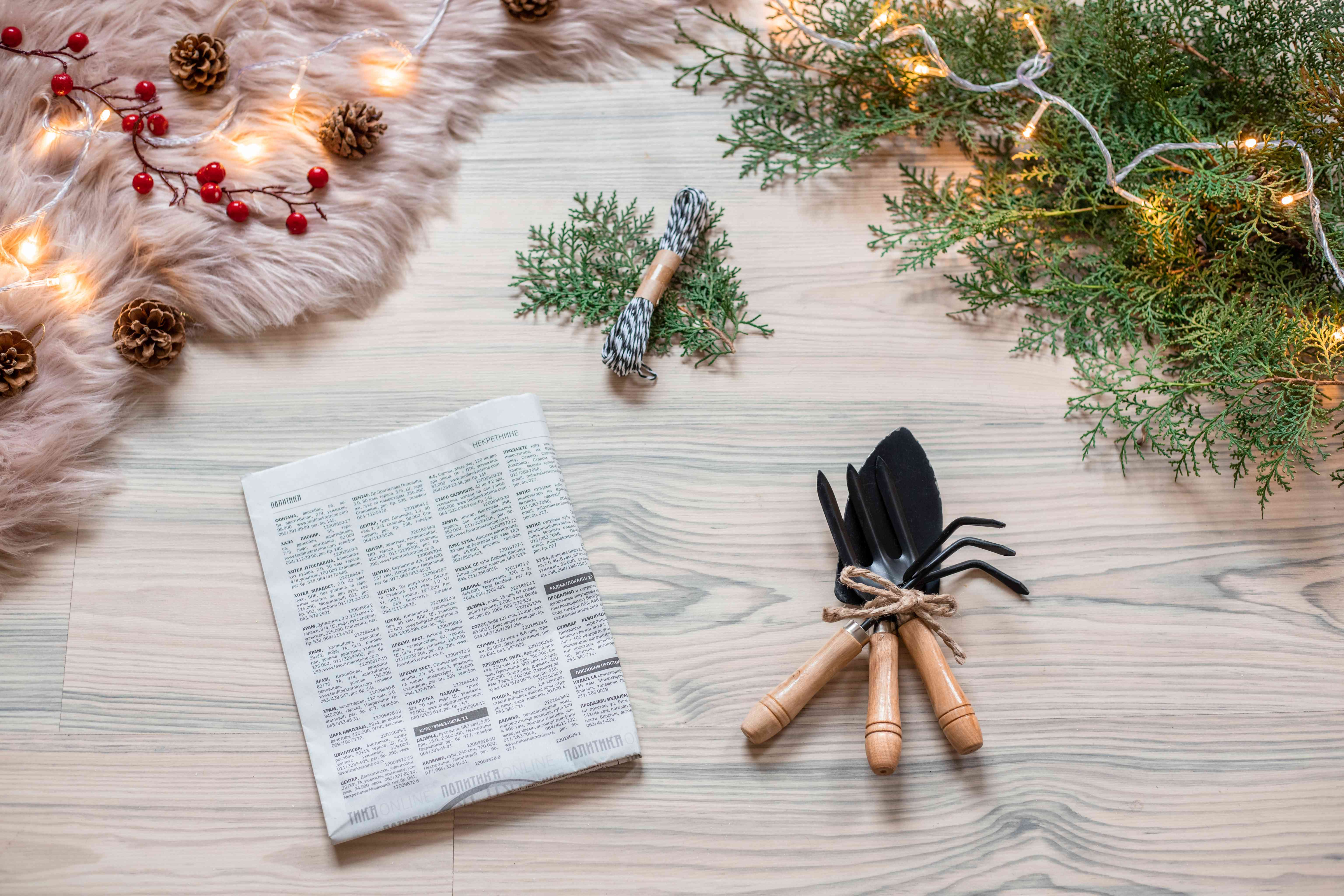 wrapping presents with twine and old newspaper