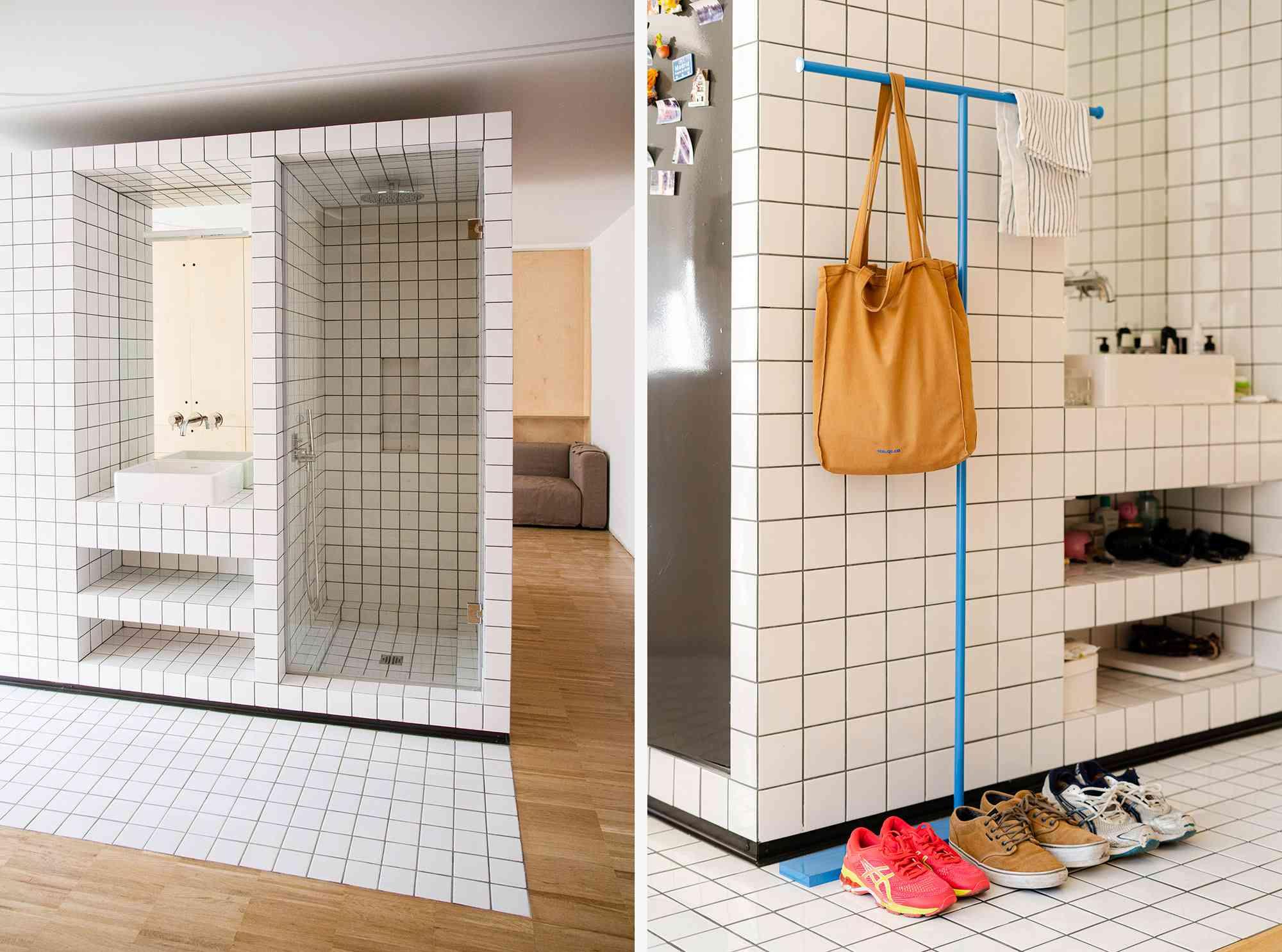 JM55 microapartment renovation by BURR Studio sink and shower