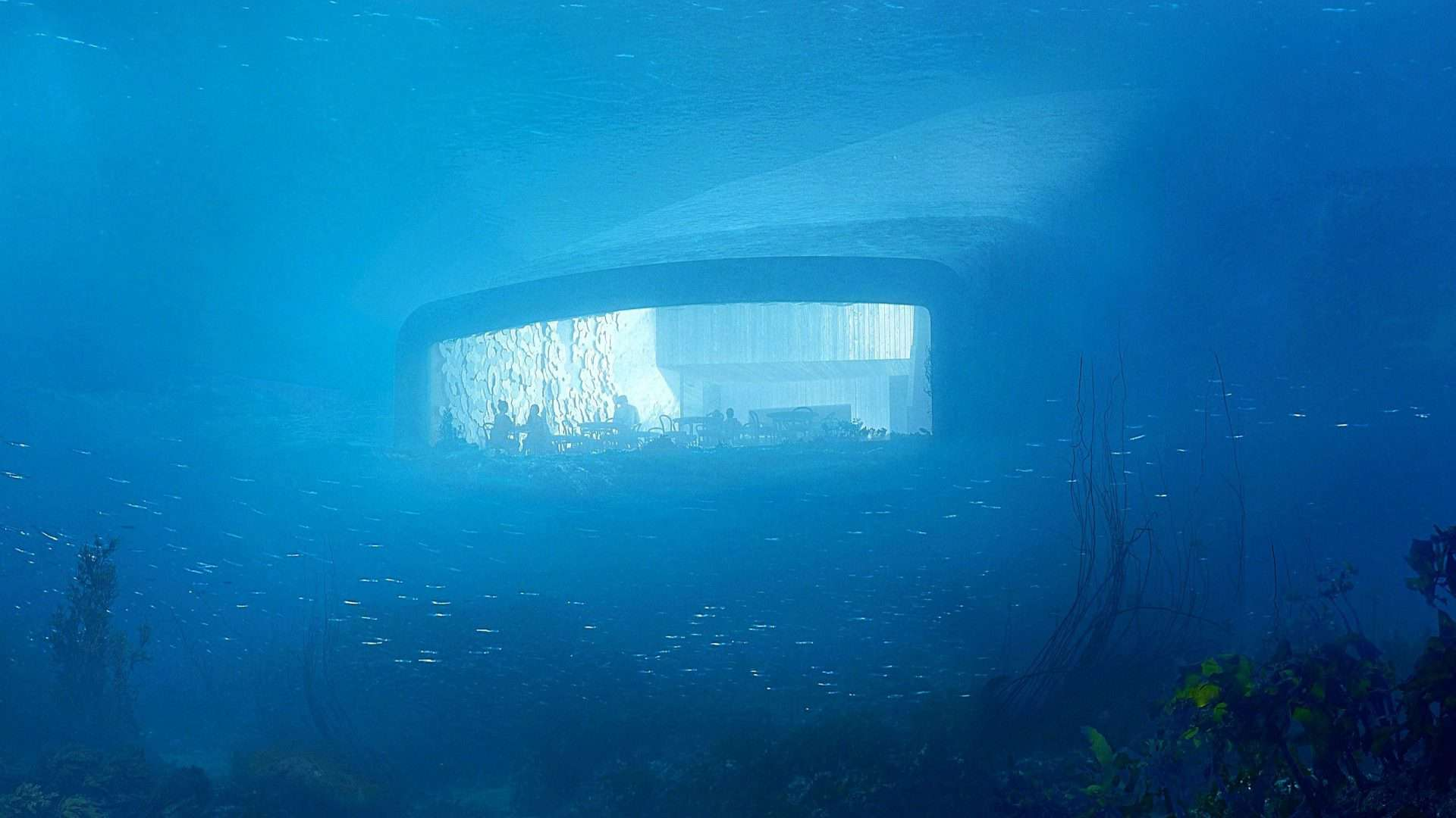 View inside the dining room at Under, a proposed underwater restaurant on Norway's southern coast.
