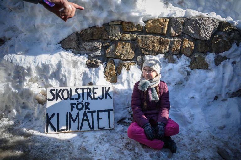 Greta on strike in Katowice, Poland