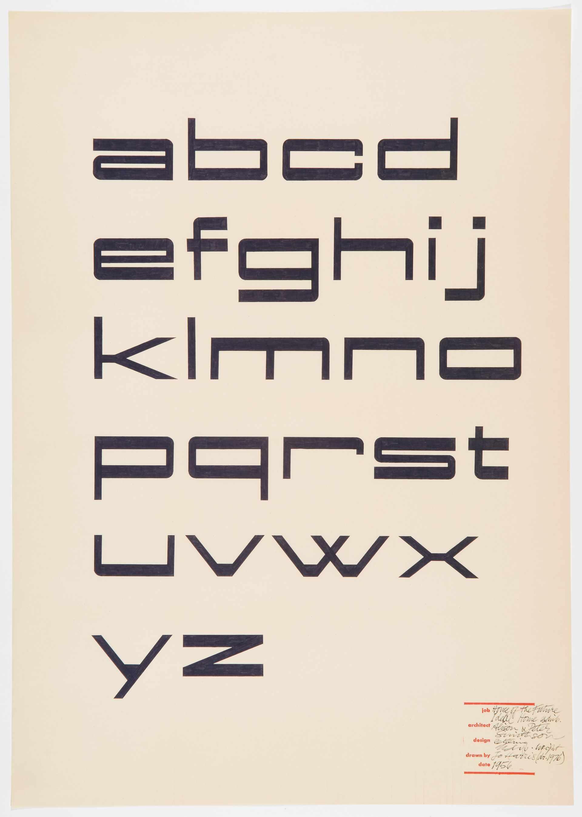 Sample alphabet of low, narrow, angular typeface