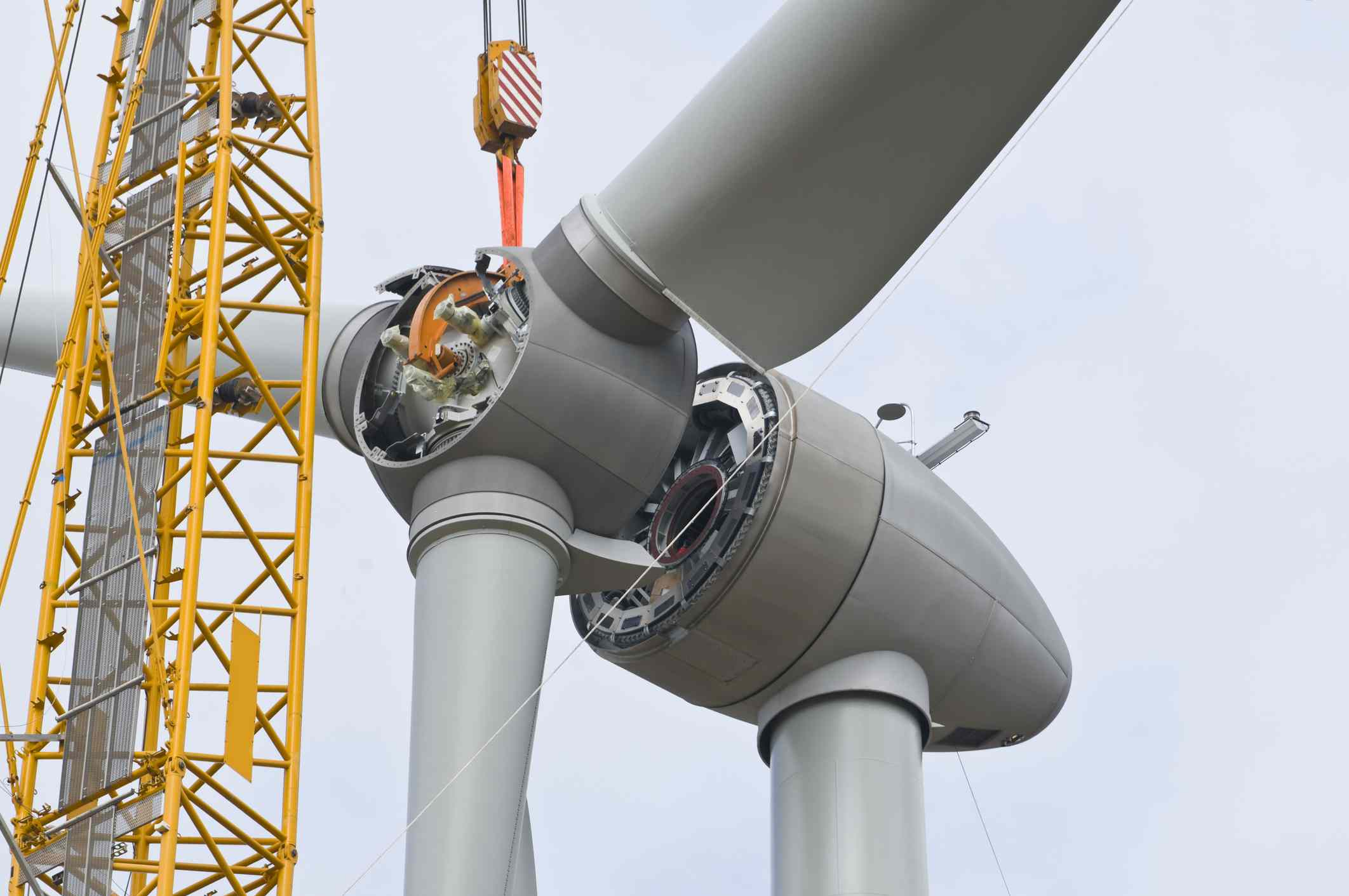 wind turbine being constructed