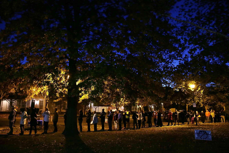 voting line at precinct in Virginia