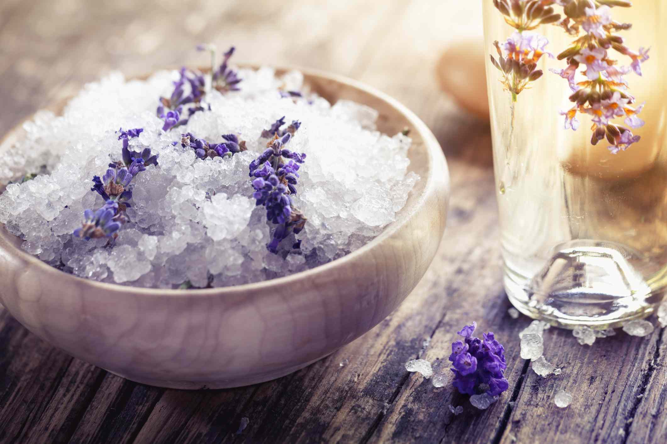 Lavender aromatherapy bath salt and massage oil