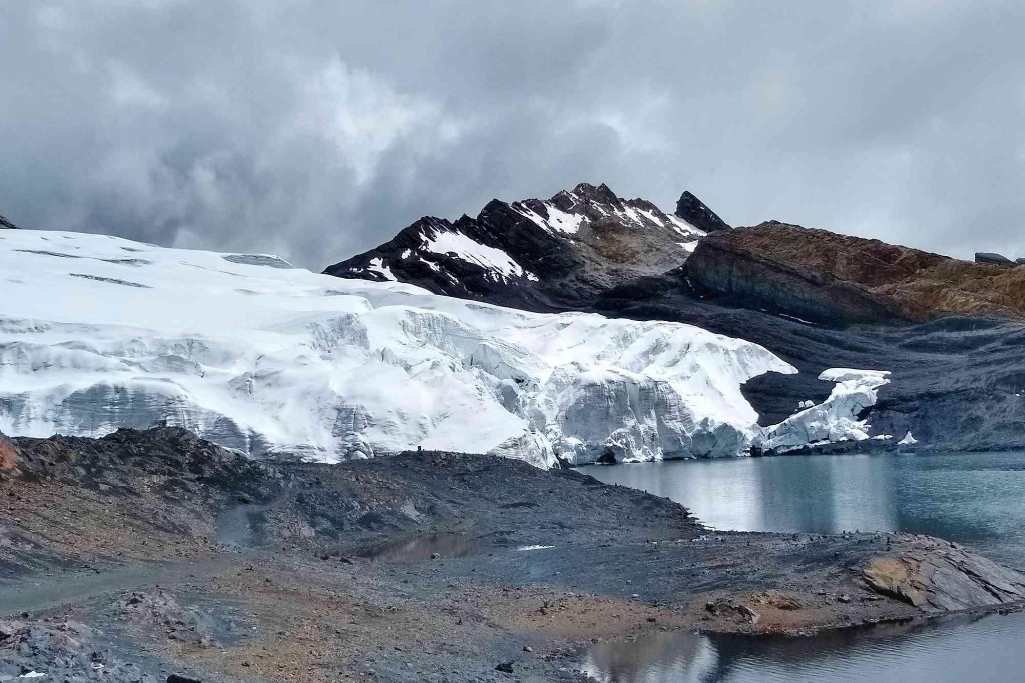 Peru's famous Pastoruri Glacier bordering a bay