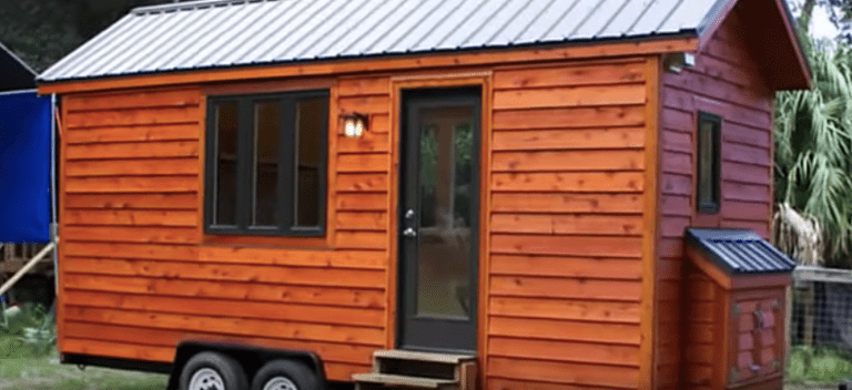 Exterior of small tiny home on wheels