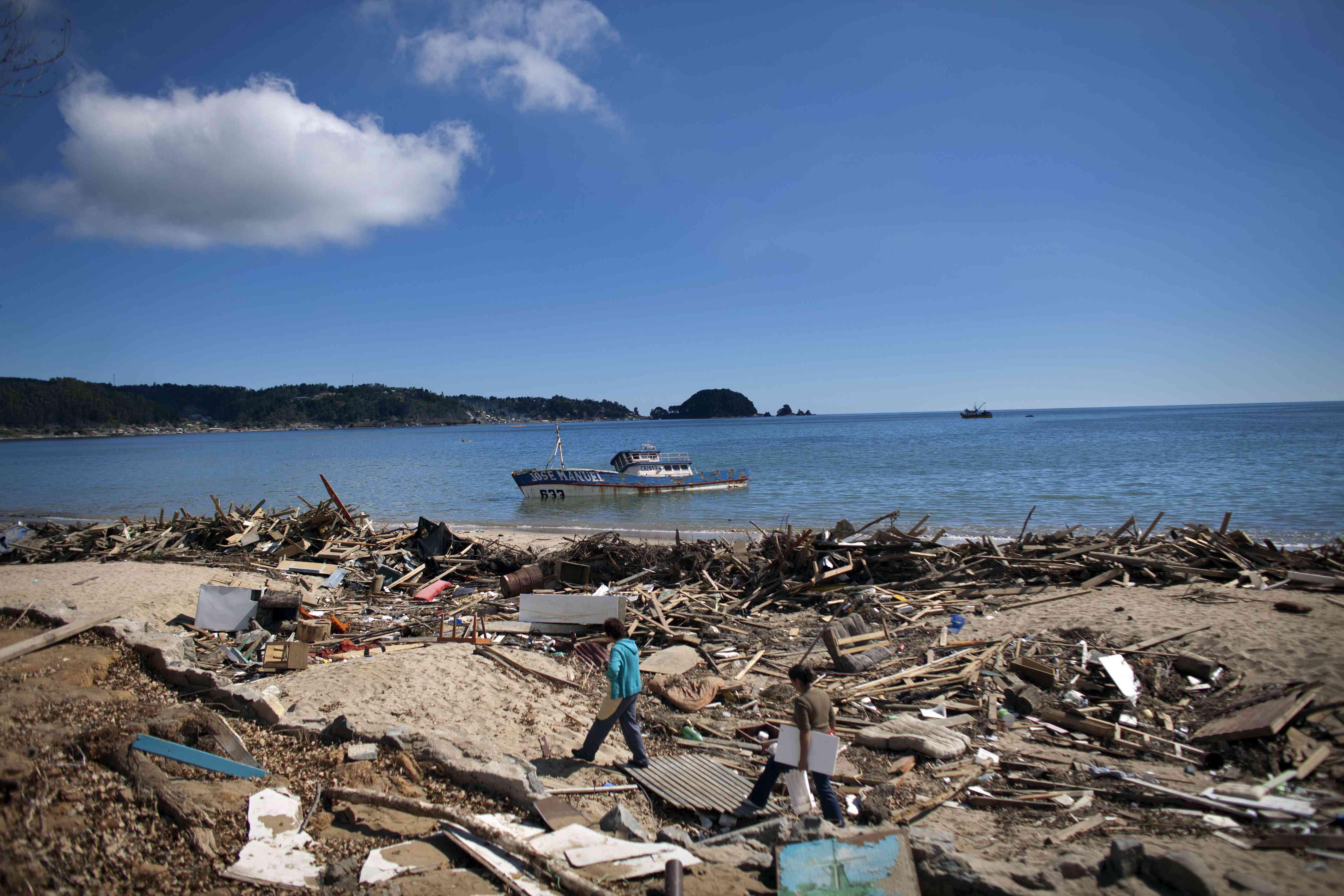 Earthquake aftermath in coastal Chile