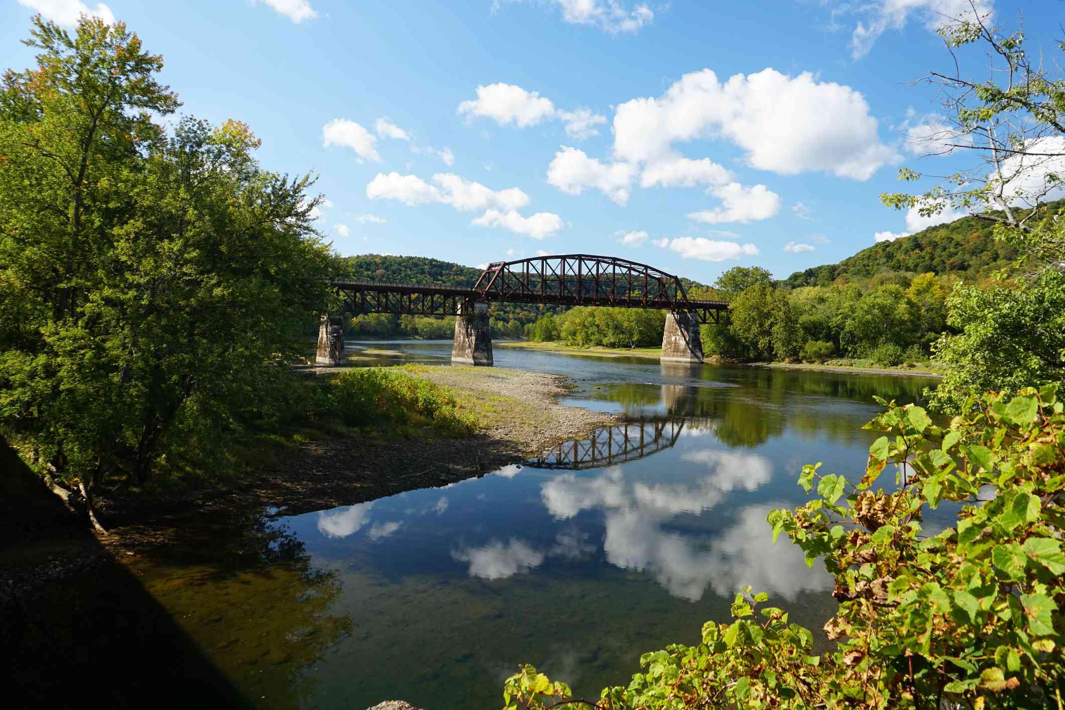 Railroad Truss Bridge over the River bend